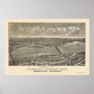 Trenton, mapa panorámico de NJ - 1900 Póster