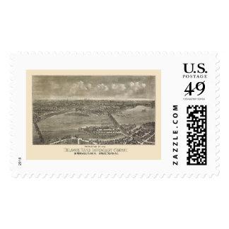 Trenton, mapa panorámico de NJ - 1900 Timbres Postales