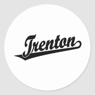 Trenton script logo in black classic round sticker