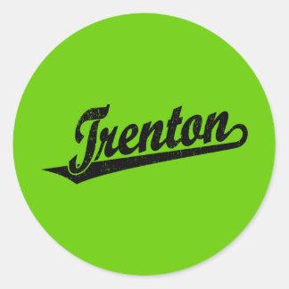 Trenton script logo in black distressed classic round sticker