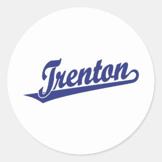 Trenton script logo in blue classic round sticker