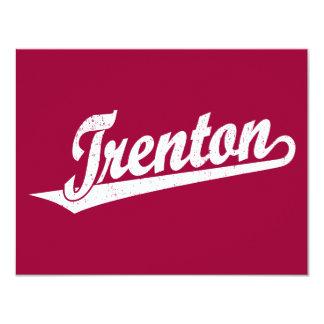 Trenton script logo in white distressed 4.25x5.5 paper invitation card