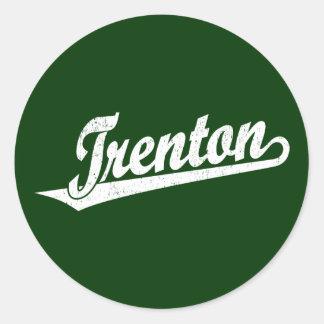 Trenton script logo in white distressed classic round sticker
