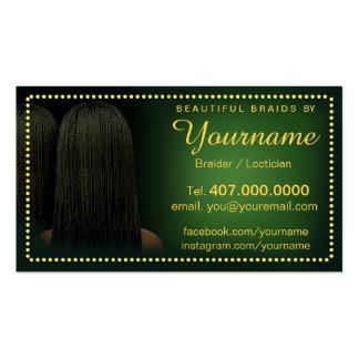 Trenzas del salón de la trenzadora del pelo de tarjetas de visita