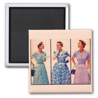 tres 1953 vestidos - ropa vintage imán cuadrado