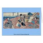 Tres actores por Utagawa, Kuniyoshi Felicitaciones