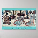 Tres actores por Utagawa, Kuniyoshi Impresiones