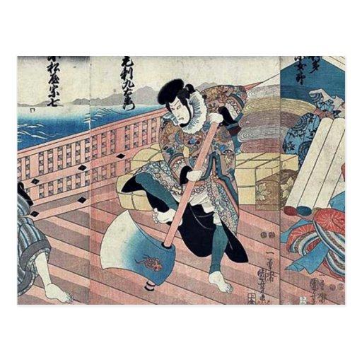 Tres actores por Utagawa, Kuniyoshi Postal