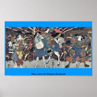 Tres actores por Utagawa, Kuniyoshi Póster