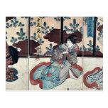Tres actores por Utagawa, Kuniyoshi Tarjeta Postal