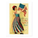 Tres alegrías para el el blanco rojo y azul tarjetas postales