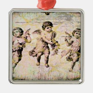 Tres ángeles (antigüedad) adorno cuadrado plateado