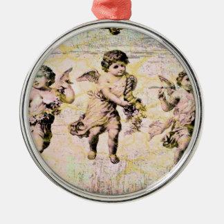 Tres ángeles (antigüedad) adorno redondo plateado