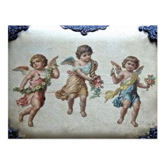 Tres ángeles (color) postal