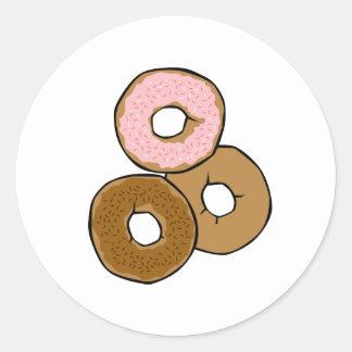 Tres anillos de espuma deliciosos pegatina redonda