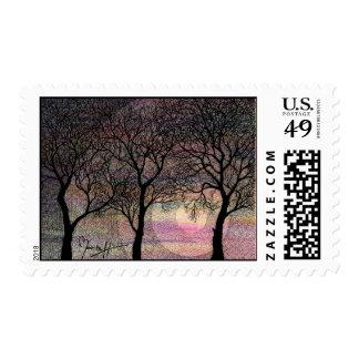 Tres árboles en un fondo rosado de la acuarela sellos