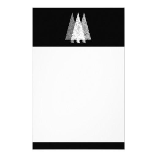 Tres árboles festivos. Blanco en negro Papeleria De Diseño