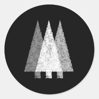Tres árboles festivos. Blanco en negro Pegatina Redonda