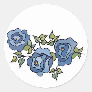Tres azul de los rosas 01 etiqueta redonda