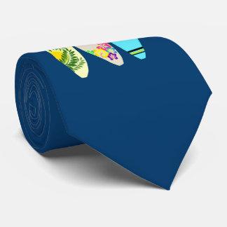 Tres azules marinos de las tablas hawaianas corbata personalizada