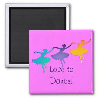 Tres bailarines -- ¡Amor a bailar! Imán Cuadrado
