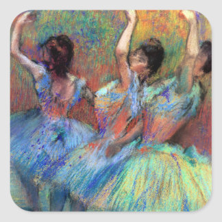 Tres bailarines cerca desgasifican calcomanía cuadradas personalizada