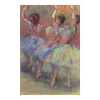 Tres bailarines de Edgar Degas, arte del ballet Póster