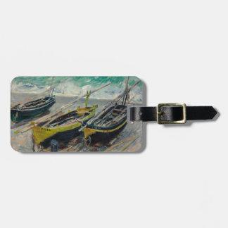 Tres barcos de pesca de Claude Monet Etiquetas Para Maletas