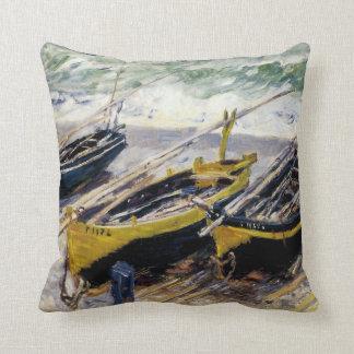 Tres barcos de pesca de Monet Cojín