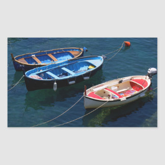 Tres barcos rectangular pegatina