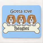 Tres beagles alfombrilla de raton