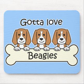 Tres beagles tapete de ratones