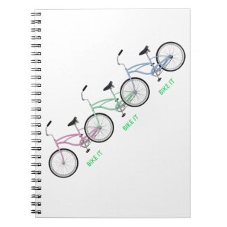 ¡Tres bicicletas coloridas con la bici de las pala Libreta Espiral