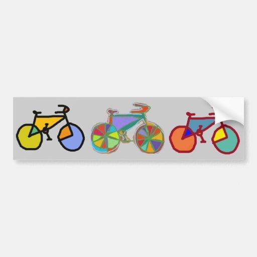 tres bicis coloridas pegatina para auto