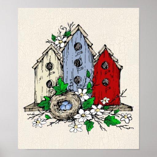 Tres Birdhouses, una jerarquía y flores Impresiones