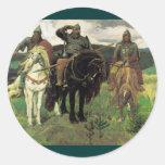 Tres Bogatyrs (1898) por la impresión de Victor Pegatina Redonda