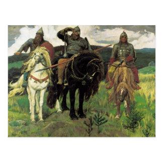 Tres Bogatyrs (1898) por la impresión de Victor Tarjeta Postal