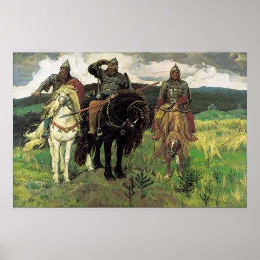 Tres Bogatyrs (1898) por la impresión de Victor Va