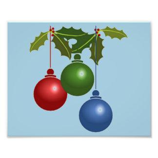 Tres bolas colgantes del navidad impresiones fotograficas