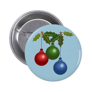 Tres bolas colgantes del navidad pin redondo de 2 pulgadas
