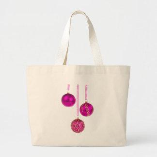 Tres bolas rosadas del navidad bolsa tela grande