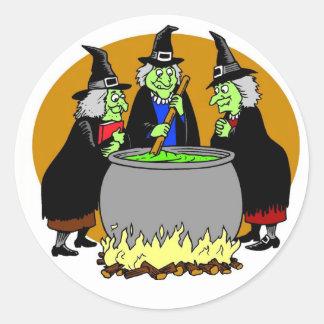 Tres brujas pegatina redonda