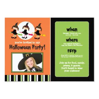 """Tres brujas que vuelan Halloween invitan (la foto) Invitación 5"""" X 7"""""""
