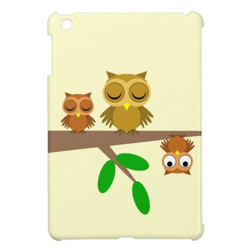 tres búhos divertidos iPad mini carcasa