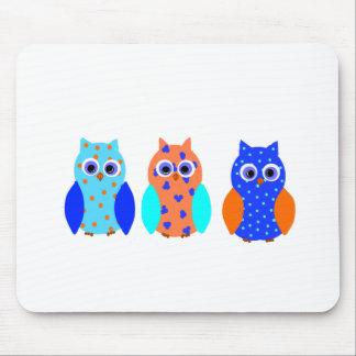 Tres búhos en productos múltiples mousepad