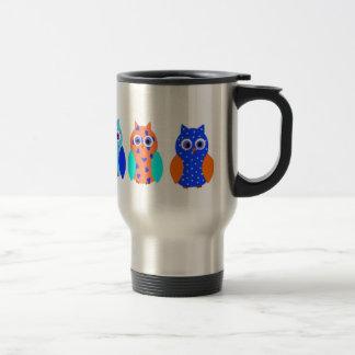 Tres búhos en productos múltiples taza de viaje de acero inoxidable