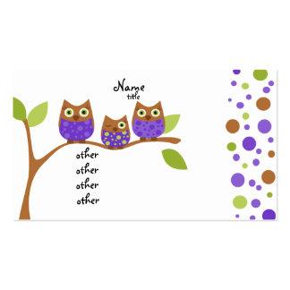 Tres búhos plantillas de tarjeta de negocio