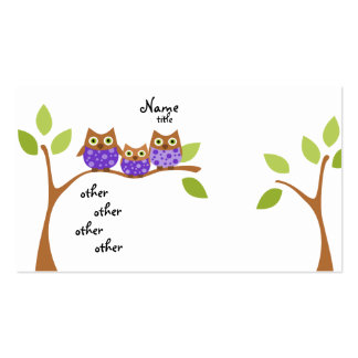 Tres búhos plantillas de tarjetas de visita
