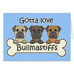 Tres Bullmastiffs Felicitacion