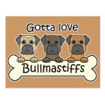 Tres Bullmastiffs Postal